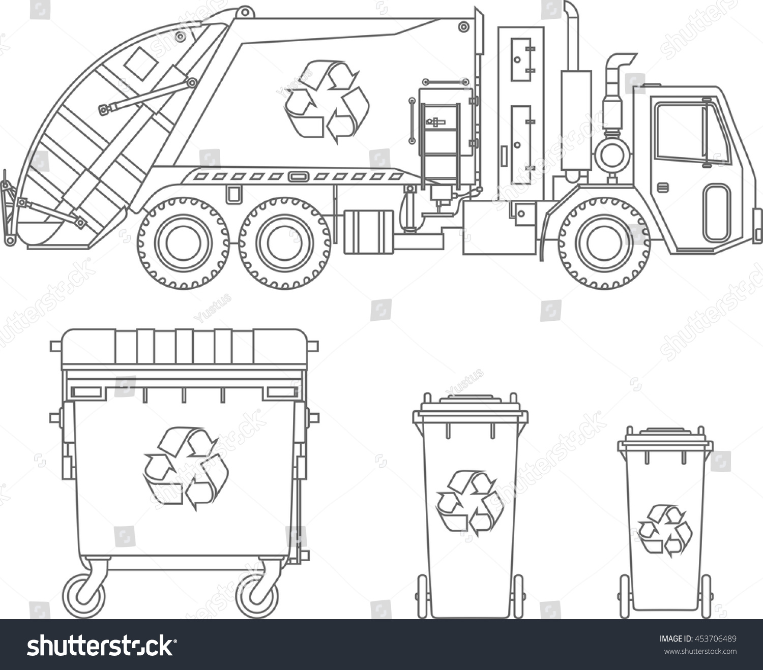 Garbage truck coloring book -  Trash Truck Coloring Pages Coloring Pages Set Garbage Truck Different Stock Vector 453706489