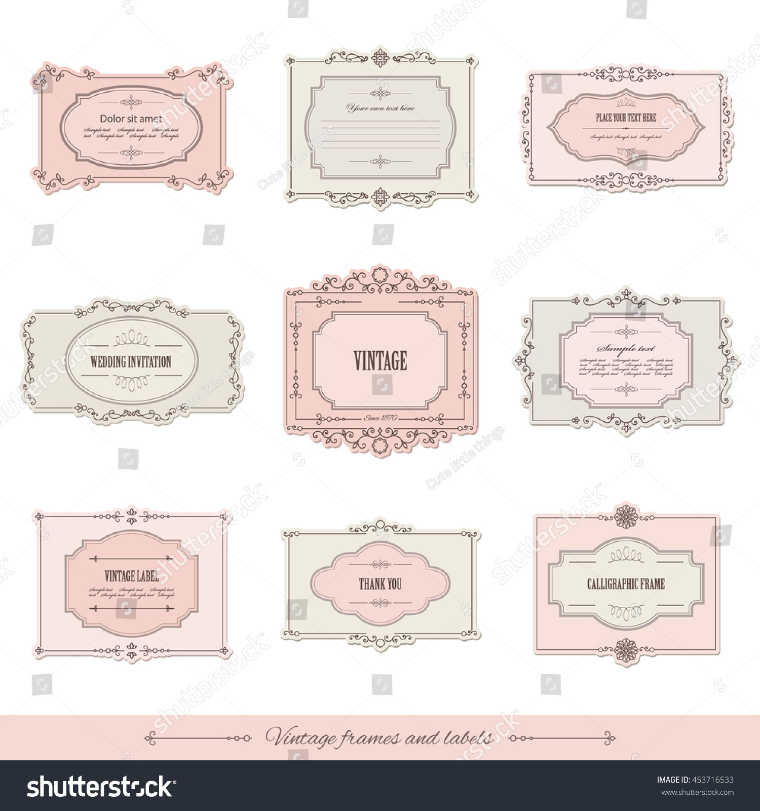 How to scrapbook a wedding invitation - Vintage Calligraphic Frames And Labels Set For Invitation Card Certificate Scrapbook Wedding