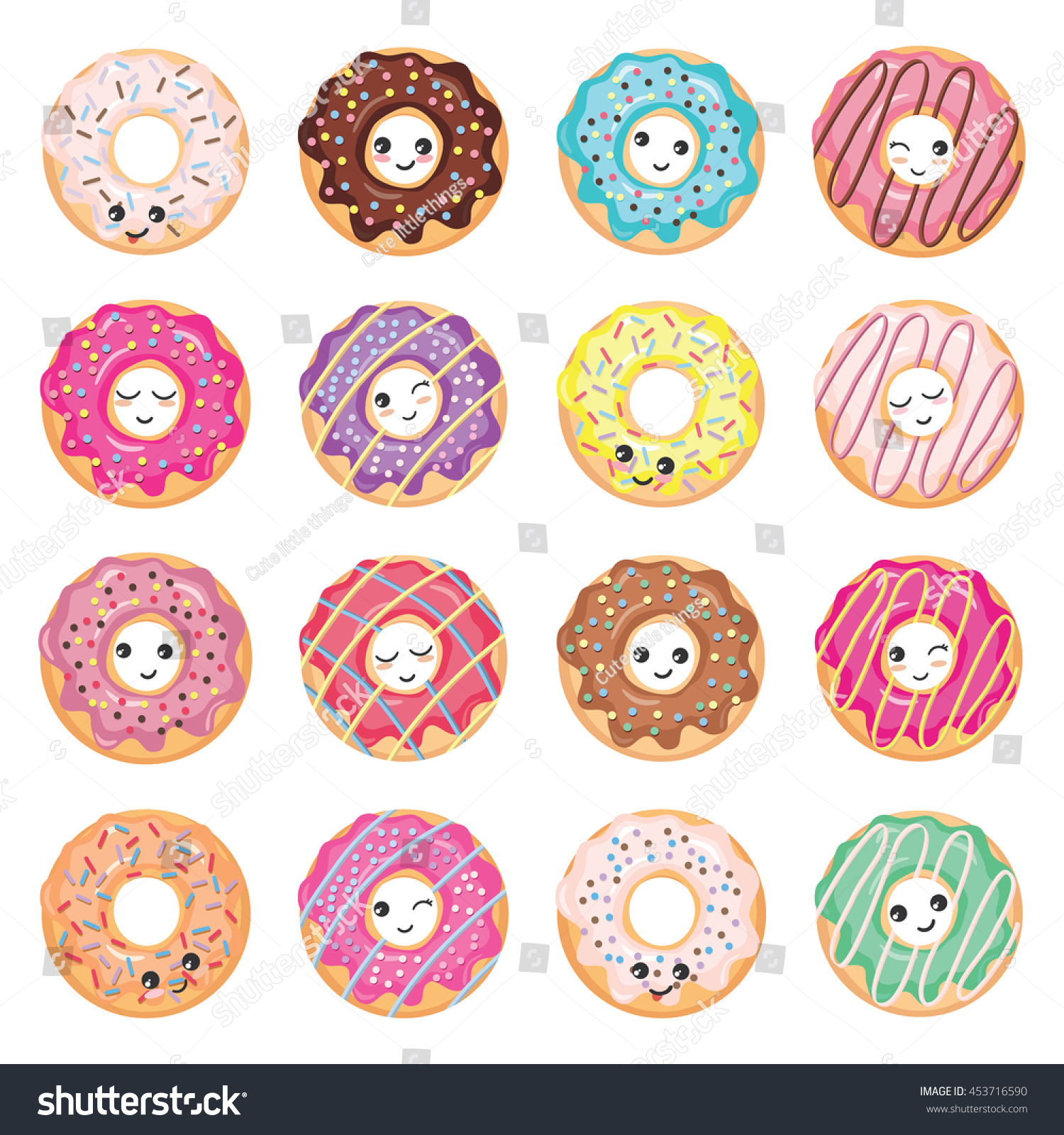Kawaii Glazed Donuts Set Isolated On Stock Vector ...