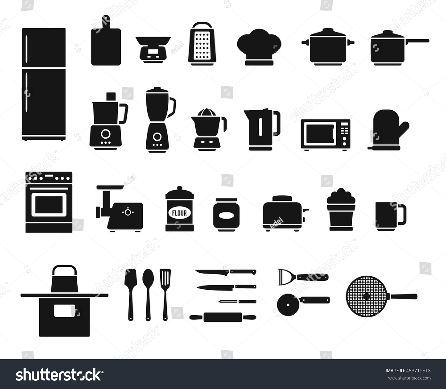 Kitchen Appliances Utensils Electrical Equipment Tools Stock Vector Royalty Free 453719518
