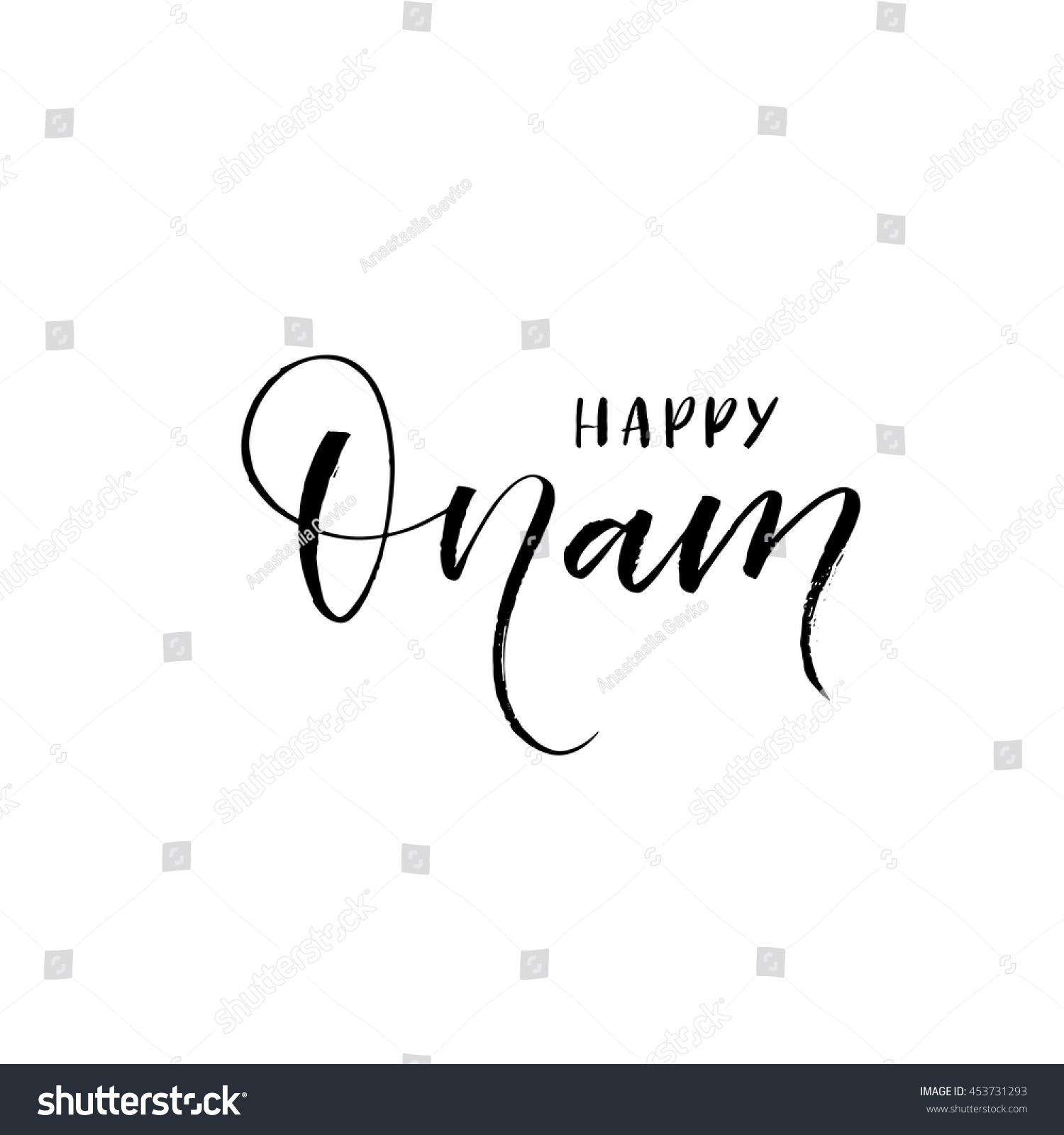Happy Onam Lettering Background Elements Your Stock Vector