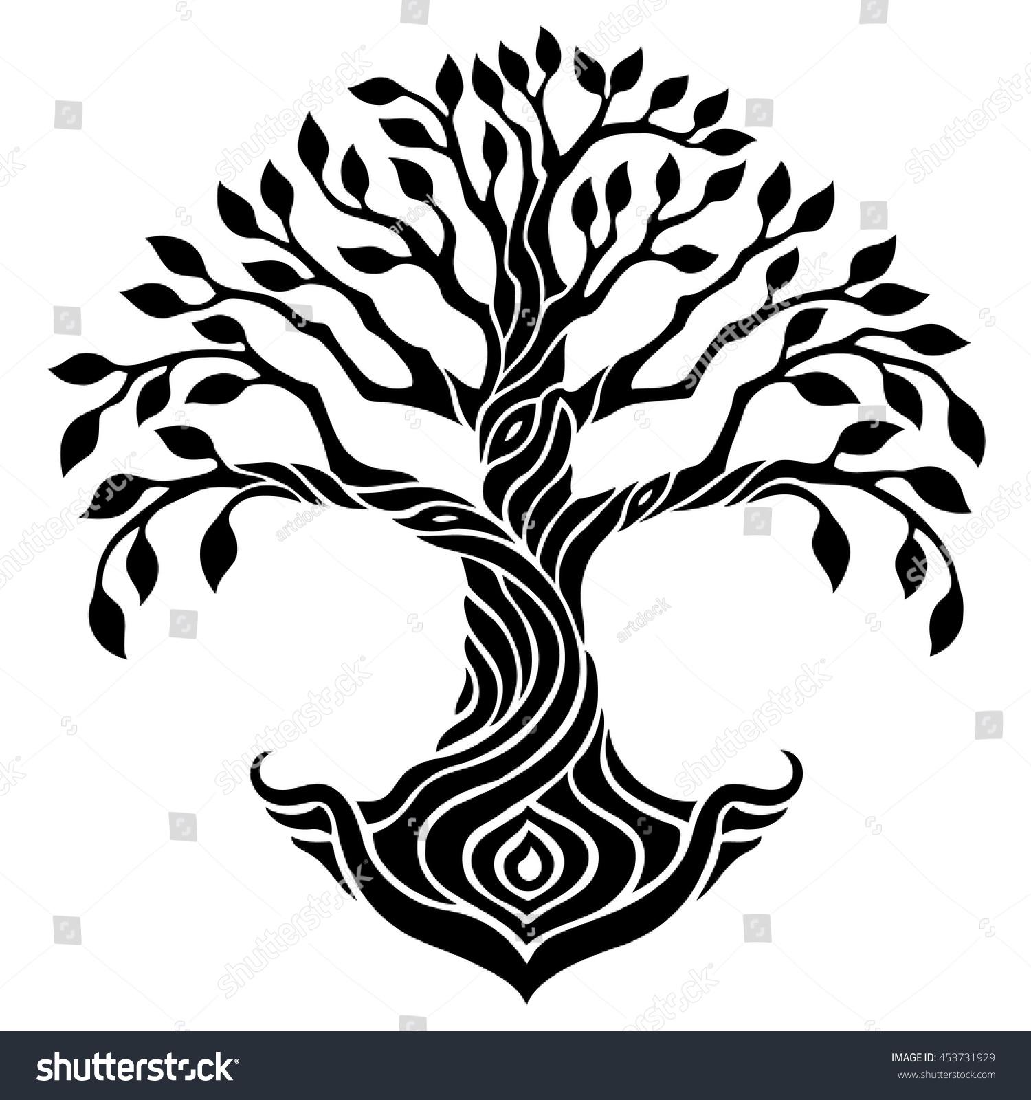 vector illustration decorative tree life seed stock vector royalty