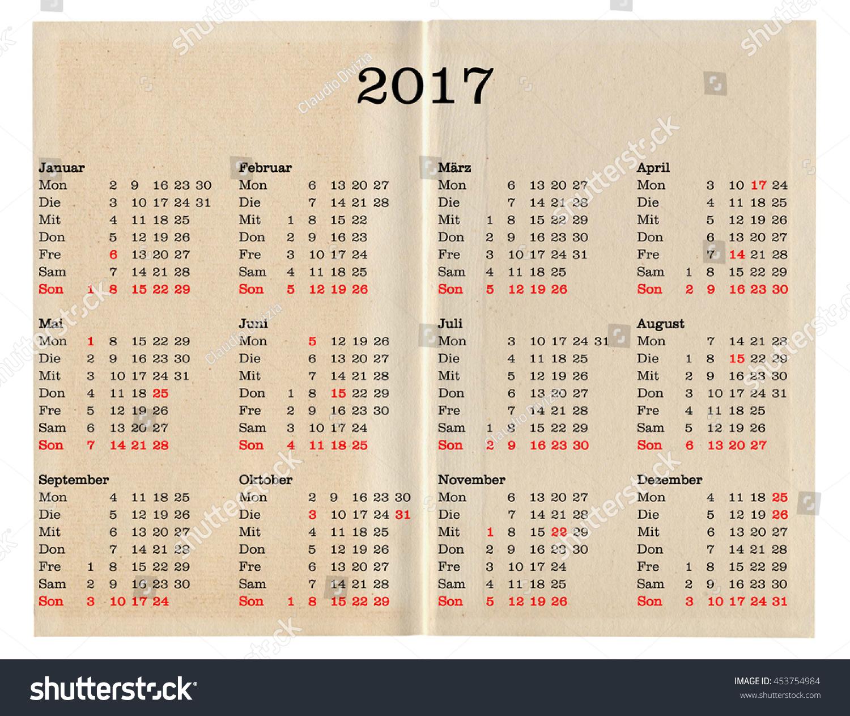 German Calendar Year 2017 Public Holidays Stock Illustration ...