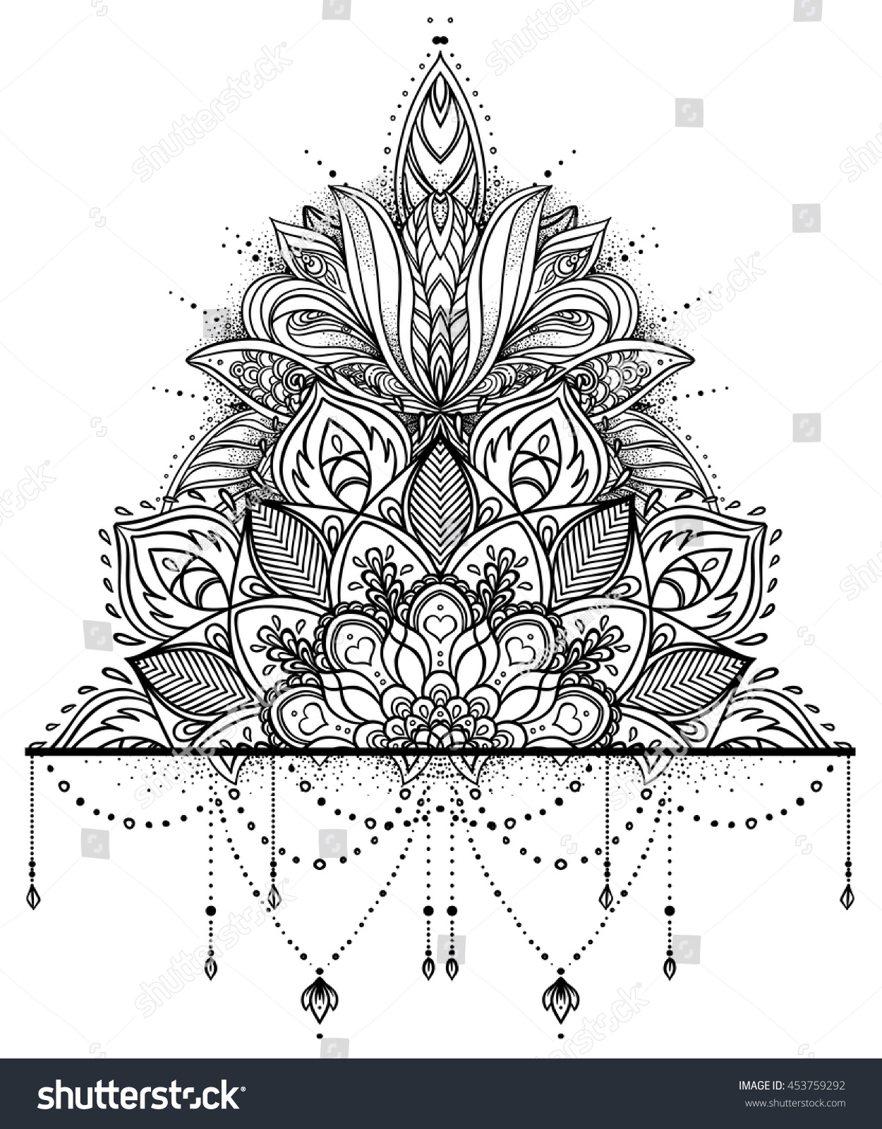 Vector Ornamental Lotus Flower Ethnic Art Stock Vector Royalty Free
