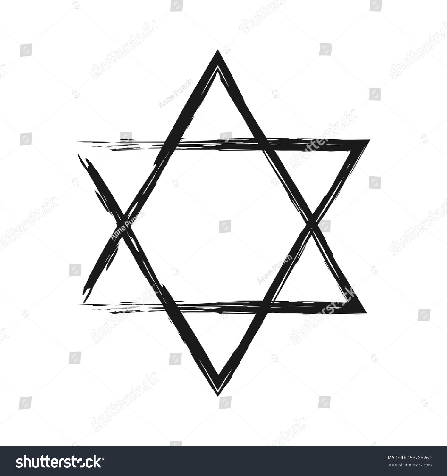 Symbol judaism star david painted broken stock vector 453788269 symbol of judaism star of david painted the broken brush isolated single element biocorpaavc