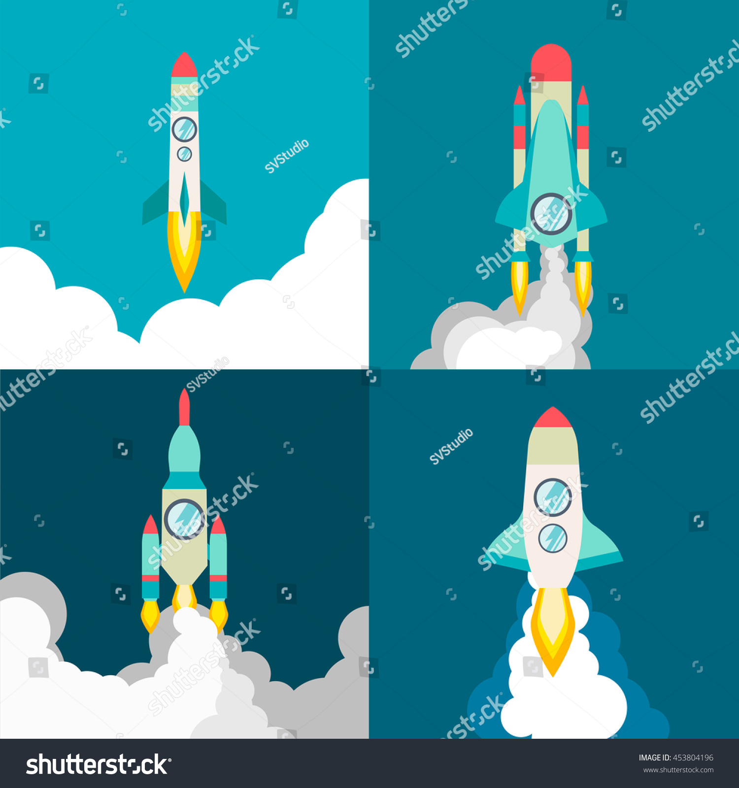 four poster rocket ship flat style stock vector 453804196