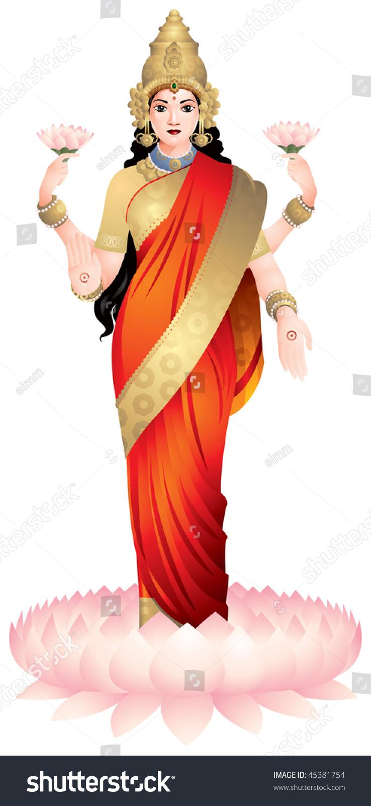 Lakshmi Hindu Goddess Wealth Prosperity Light Stock Vector