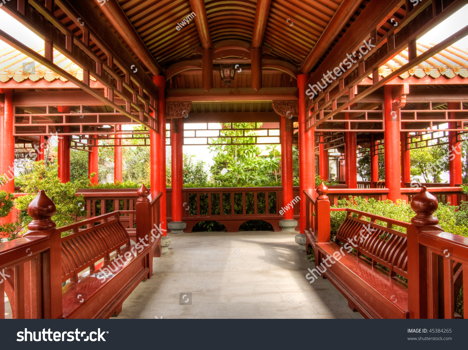 Corridor Roof Design: Chinese Traditional Wooden Architecture Of Corridor In