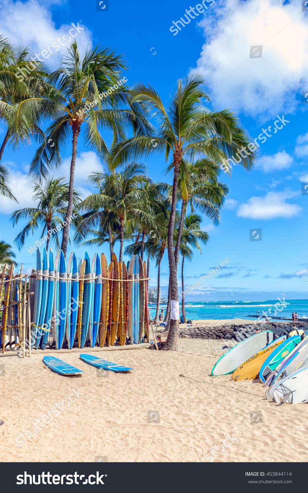Surfboards On Sandy Waikiki Beach Palm Stock Photo