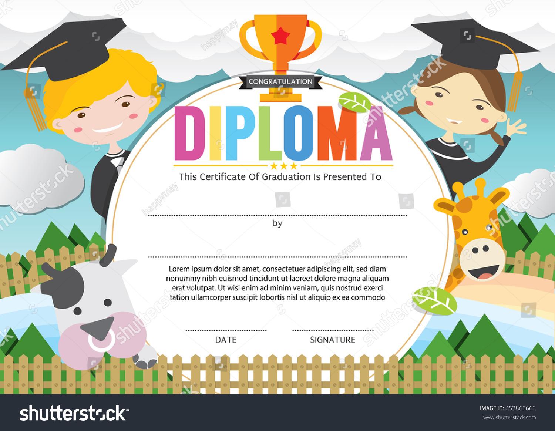 Kids Diploma Certificate Template Vector Illustration Stock Vector