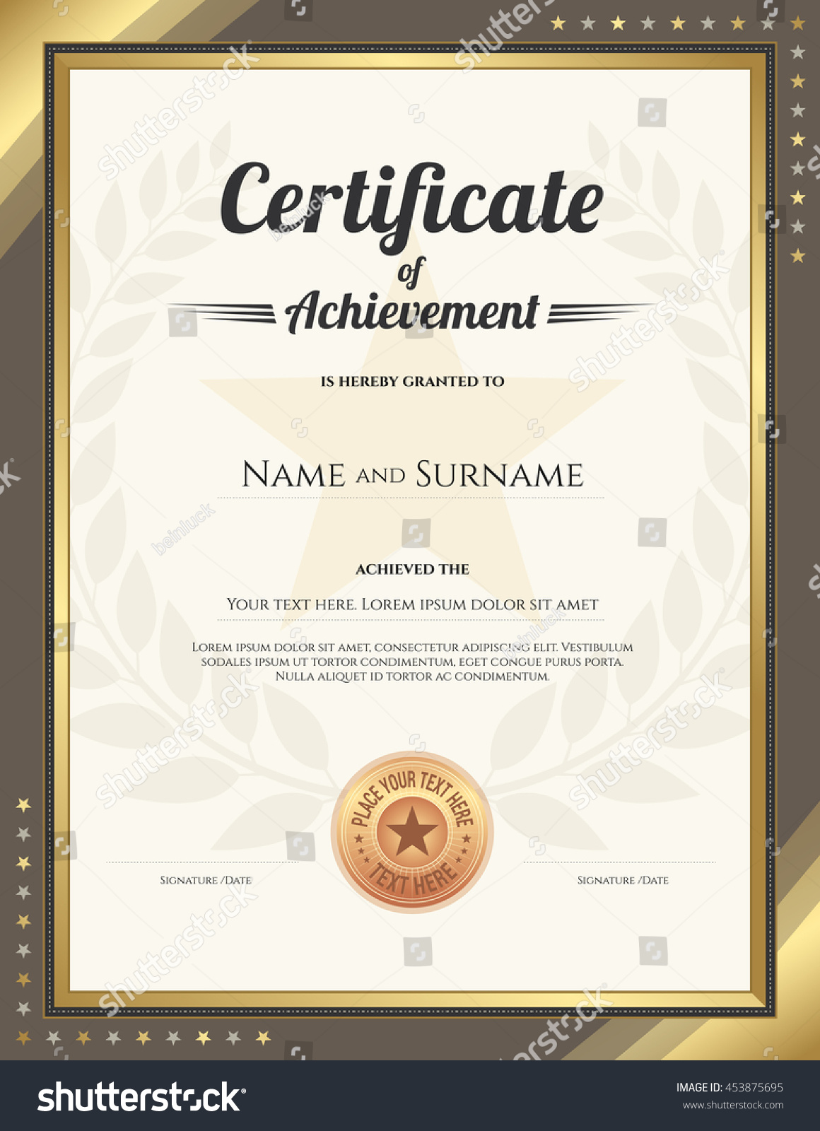 Portrait Certificate Achievement Template Gold Border Stock Vector