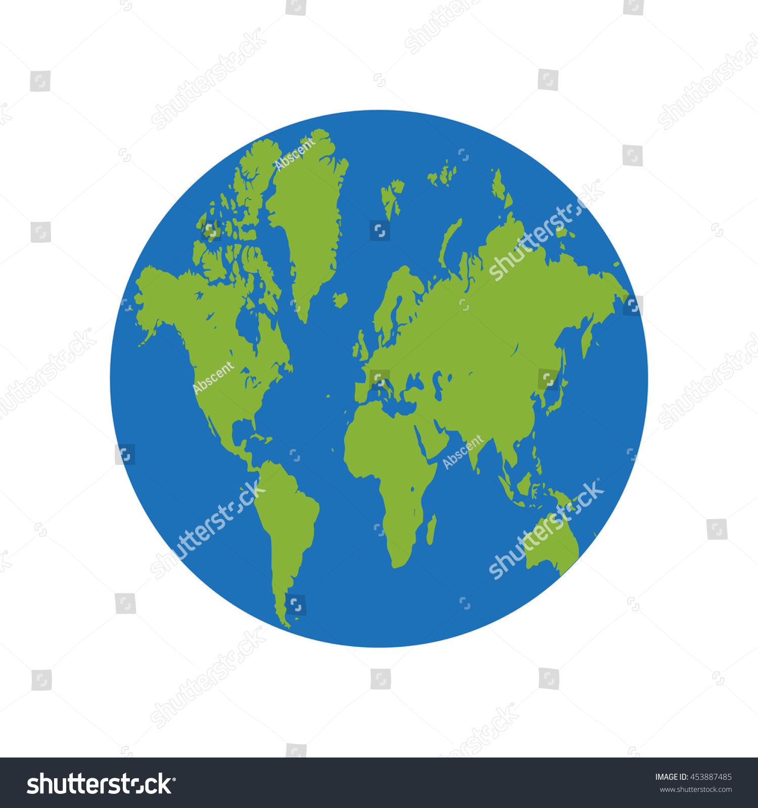 Earth globe icon green map world vectores en stock 453887485 earth globe icon green map of world in circle on white background gumiabroncs Gallery