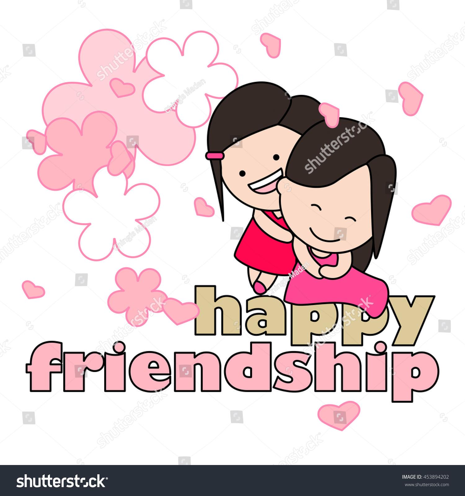 Happy Sisters Enjoying Friendship Day Vector Stock Vector Royalty
