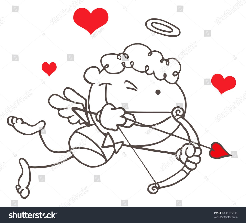 Cartoon Stick Cupid Bow Arrow Flying Stock Vector 45389548 ...