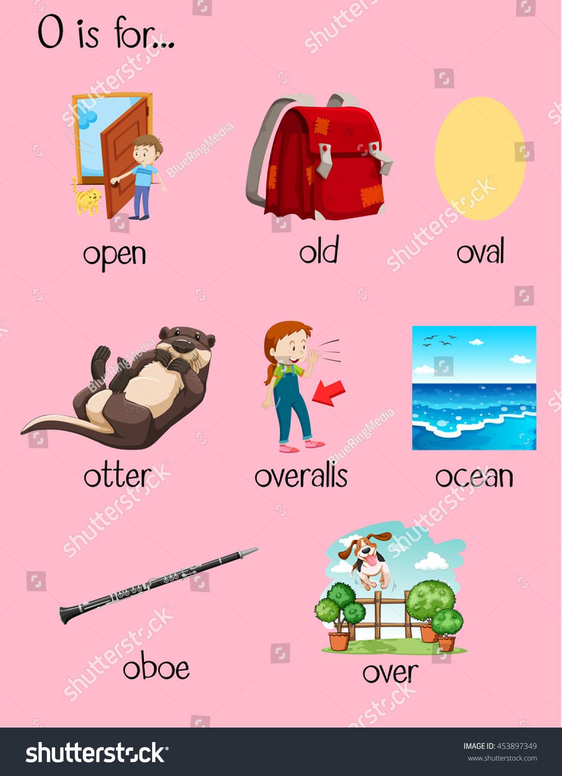 Many Words Begin Letter O Illustration Stock Vector (Royalty Free ...