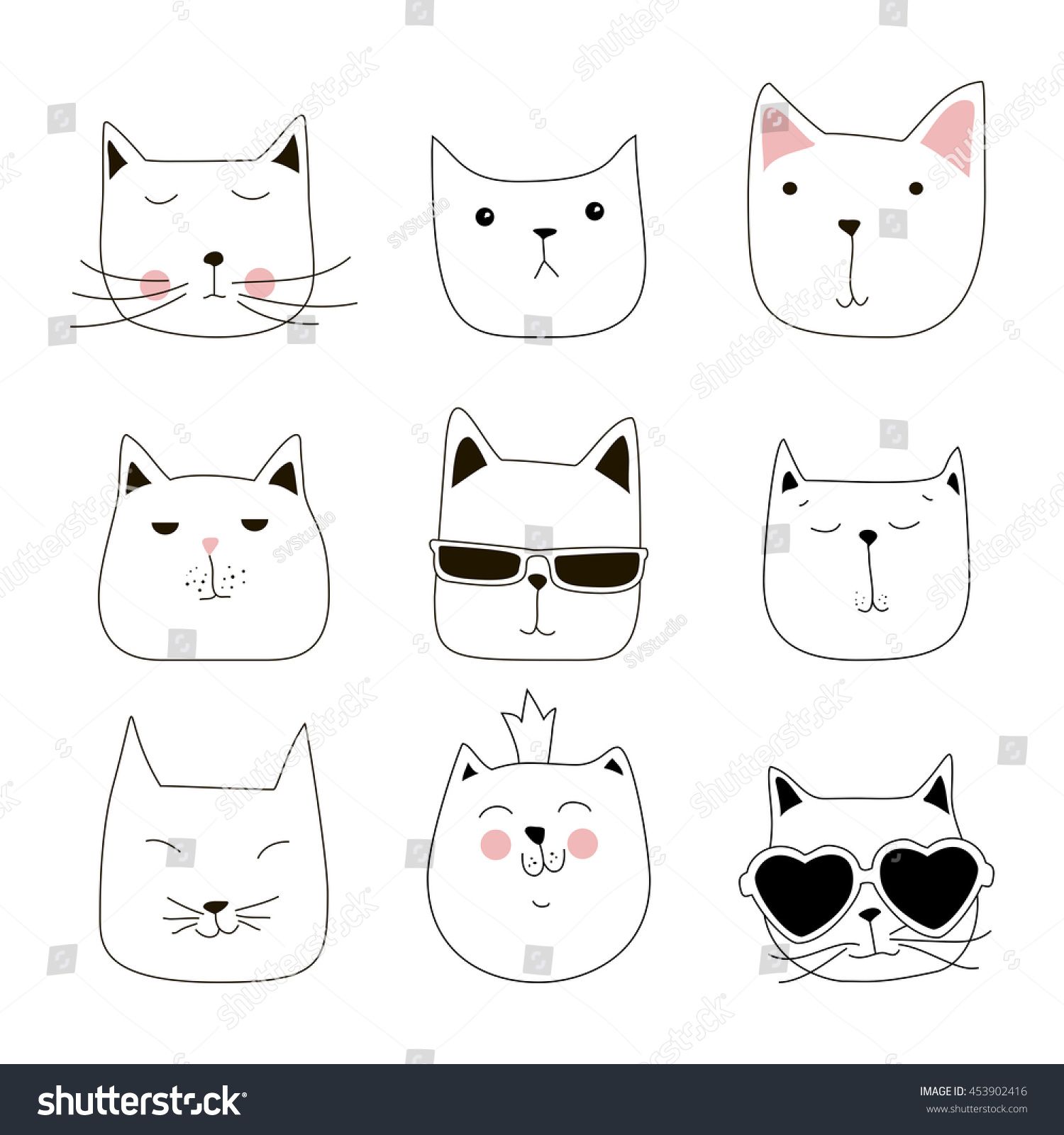 cute cat doodle series cat avatars stock vector 453902416