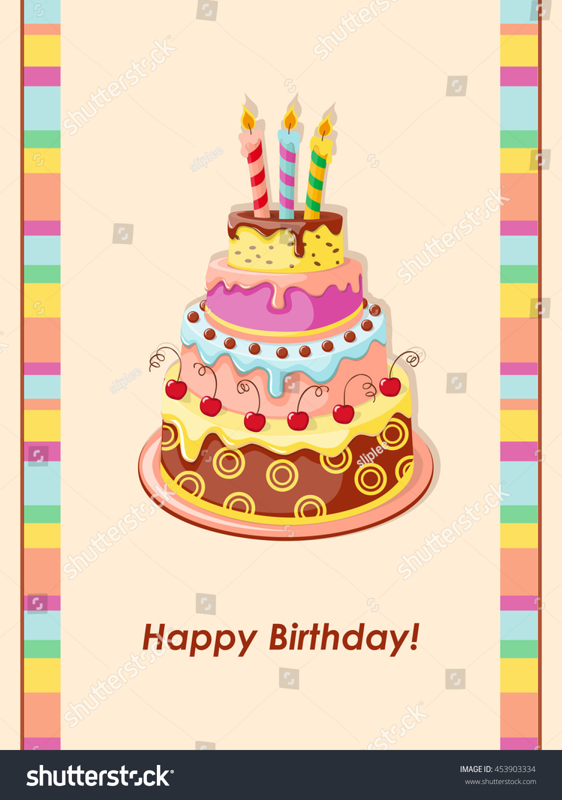 Festive Colorful Birthday Card With Cake Tier Candles And Cherry On