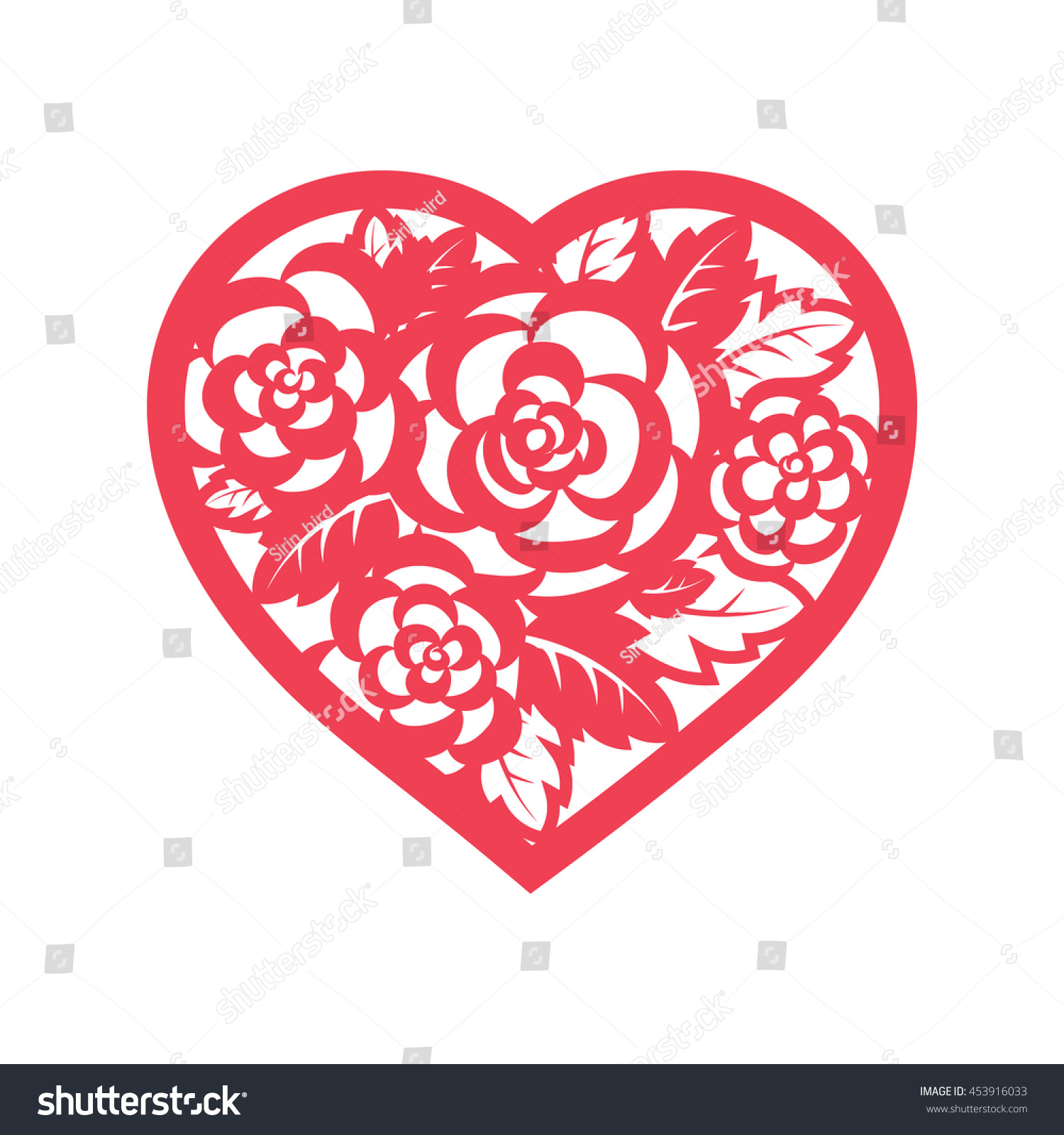 Template Heart Flowers Laser Cutting Roses Stock Vector 453916033 ...