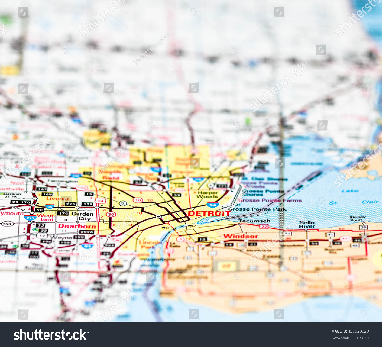 Detroit Michigan On Map Stock Photo Edit Now 453920020 Shutterstock
