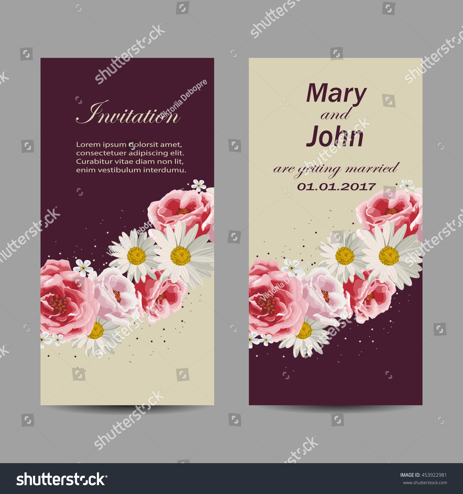 Set Wedding Invitation Cards Design Beautiful Stock Vector Royalty