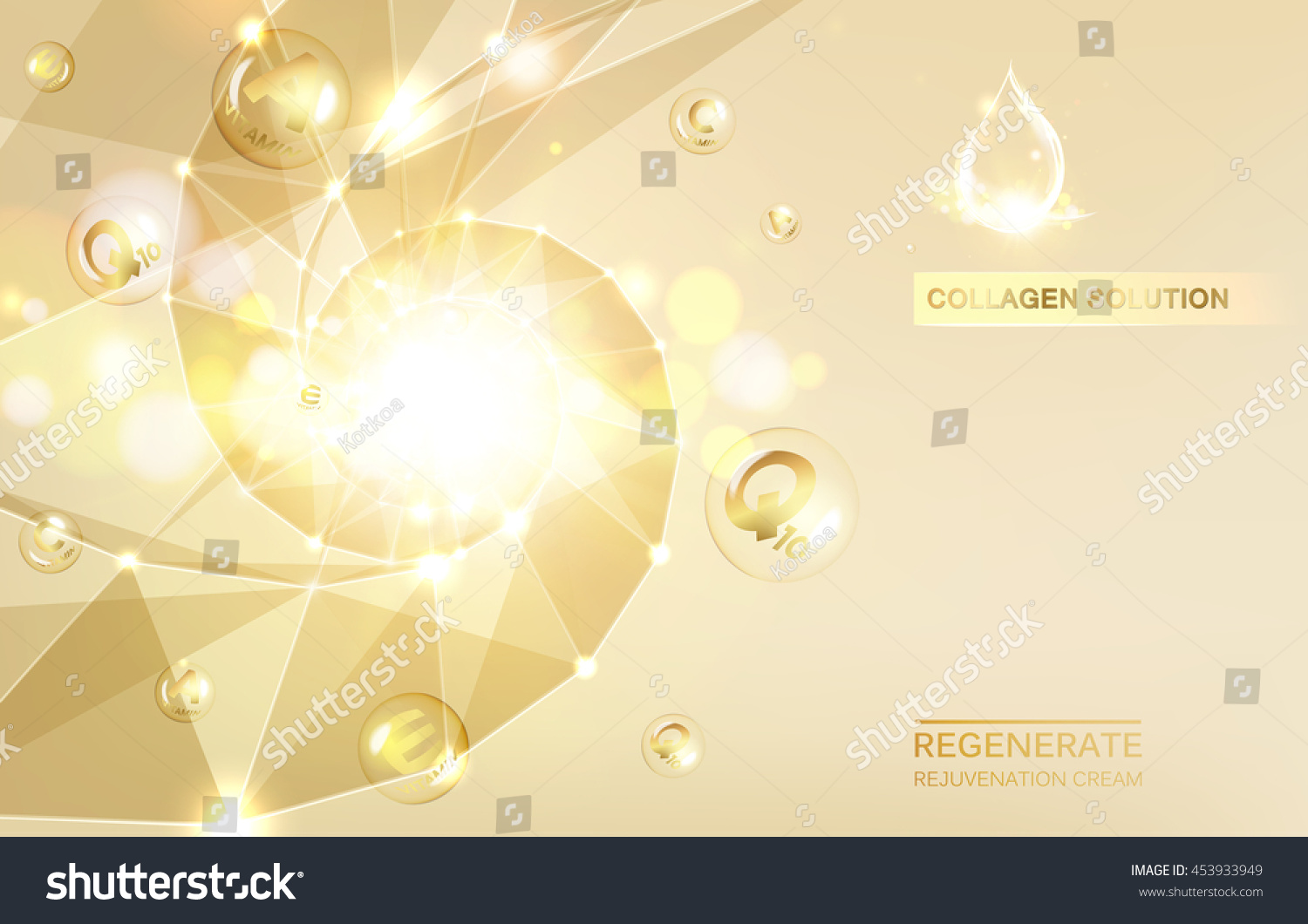 Regenerate Face Cream Vitamin Complex Concept Stock Vector
