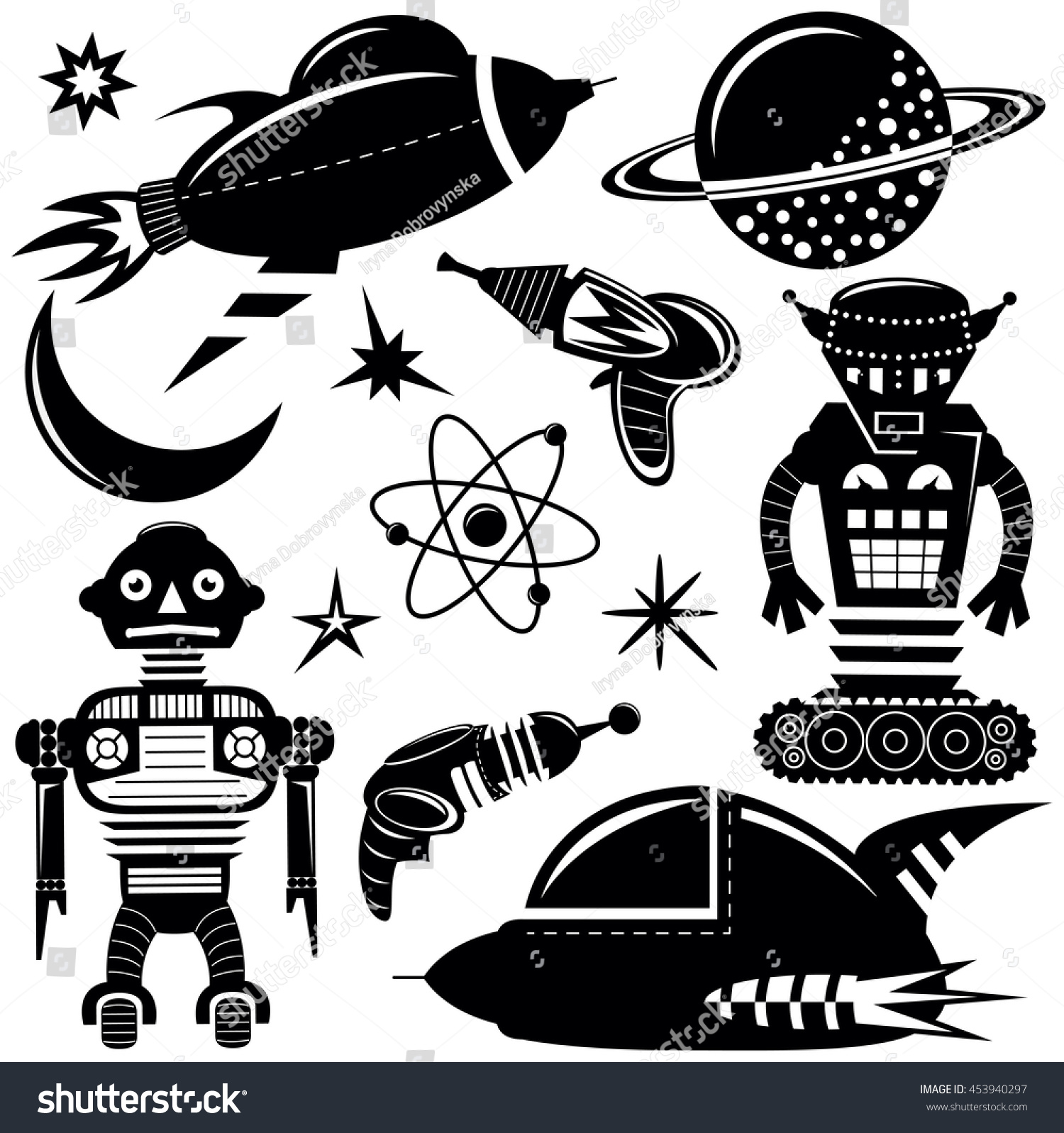 black vector wall stickers space invaders stock vector 453940297 black vector wall stickers space invaders set with robots spaceships and planets