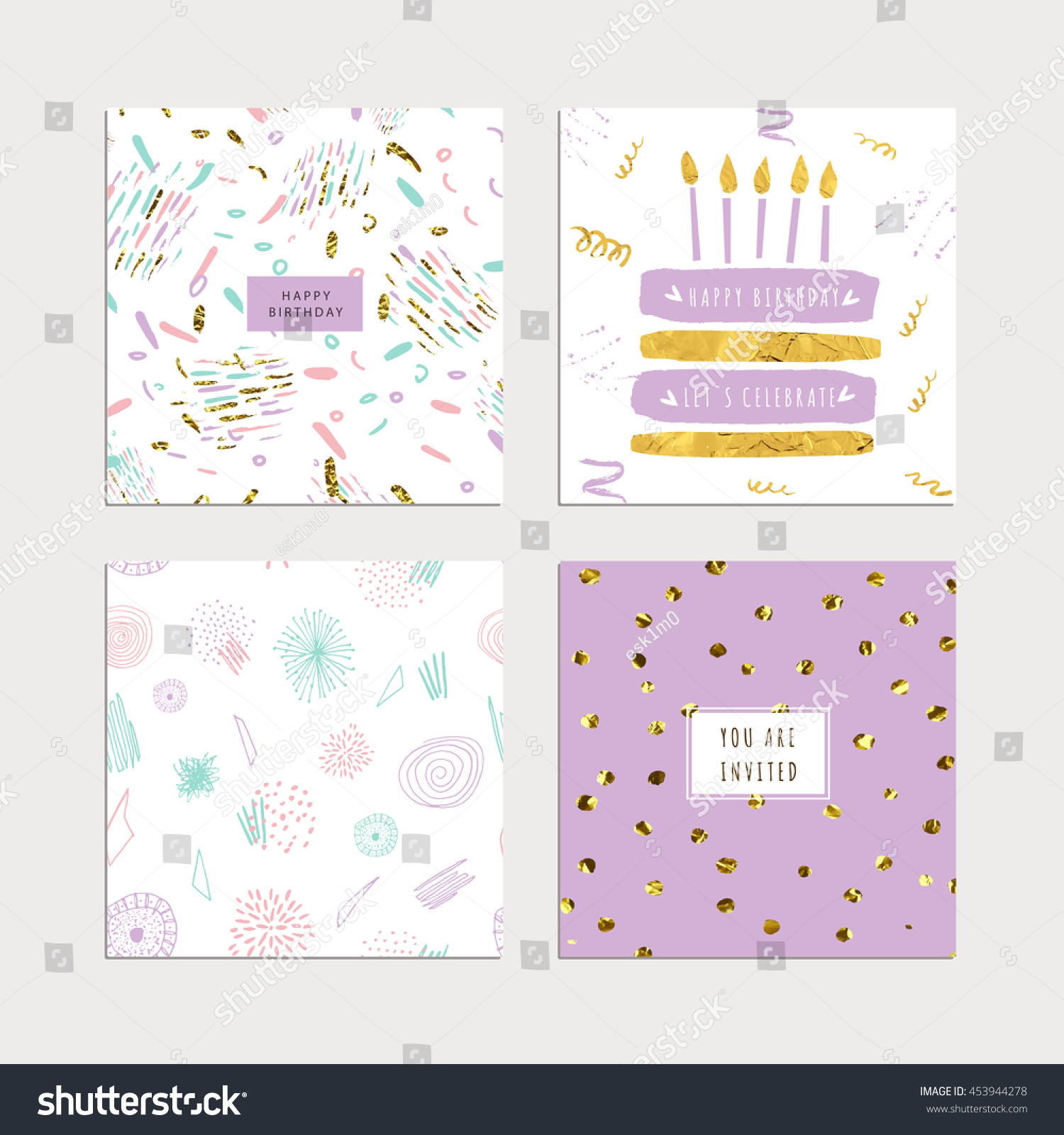Birthday Collection Hand Drawn Party Cards Stock Vector