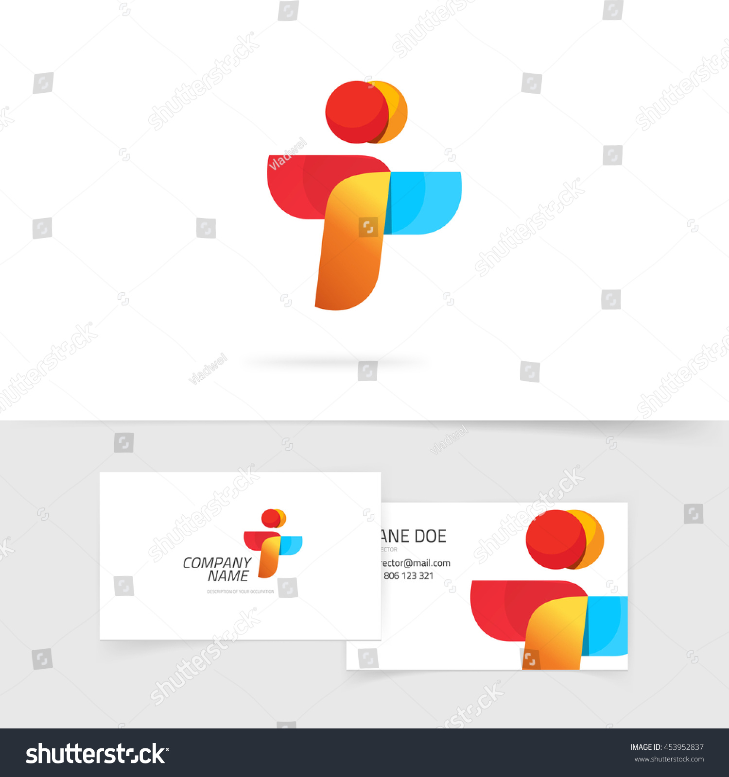 Two People Logo Business Card Design Stock Illustration