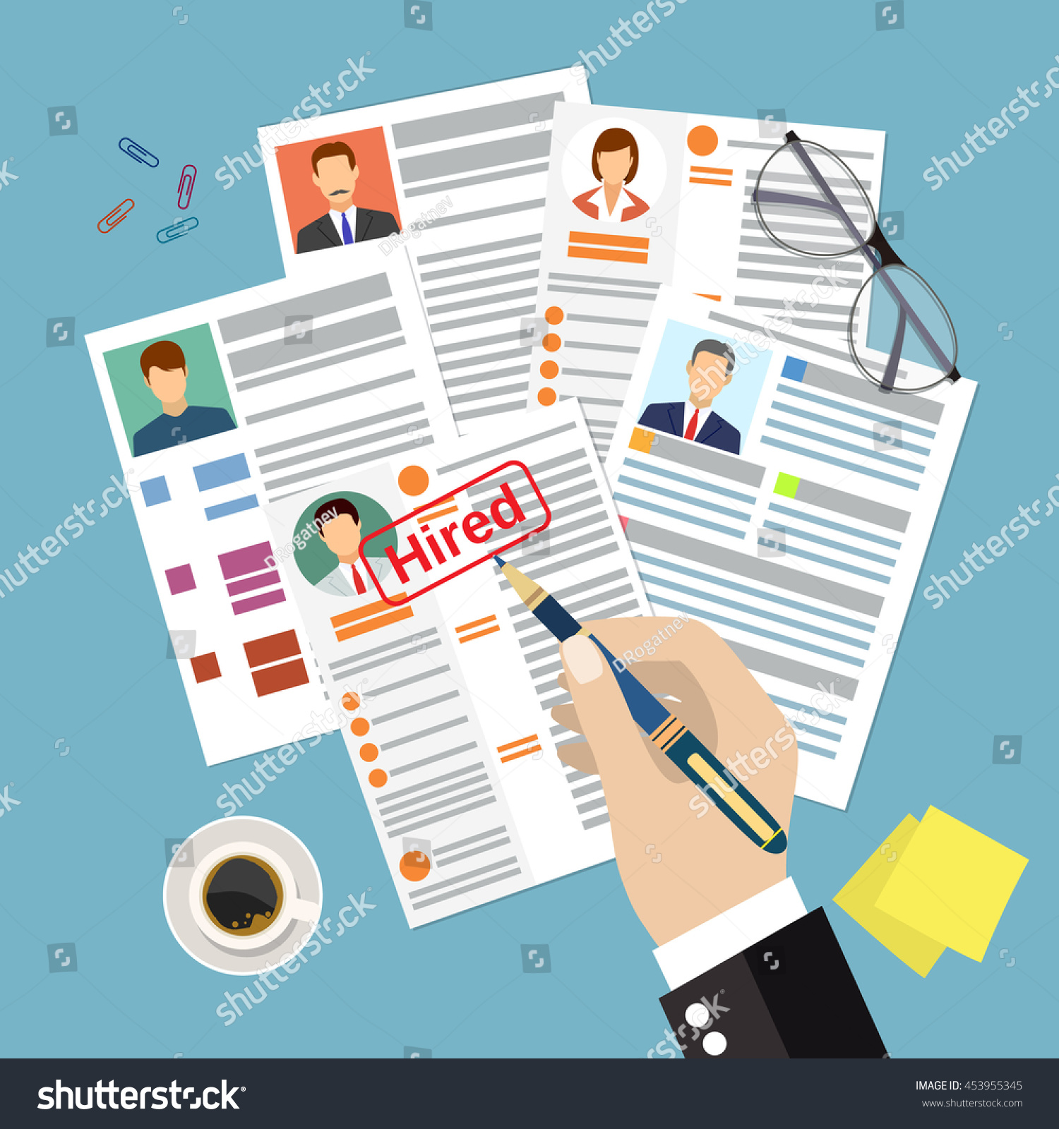 cv concept resume photo documents employment stock illustration