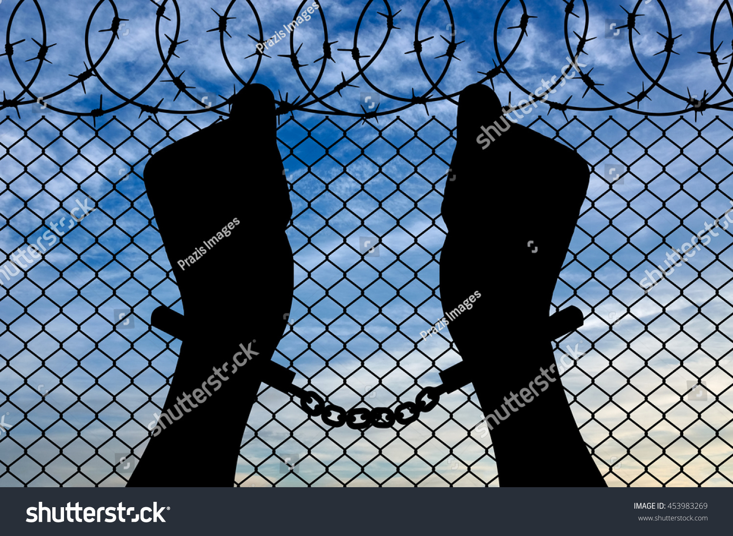 Freedom Concept Silhouette Human Hands Handcuffs Stock Photo (Edit ...