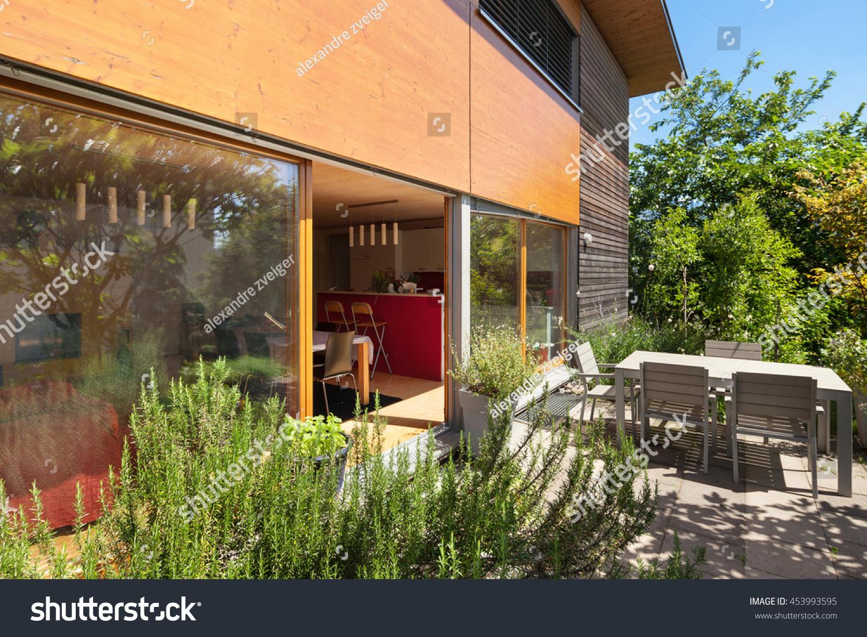 Veranda of a wooden house modern design