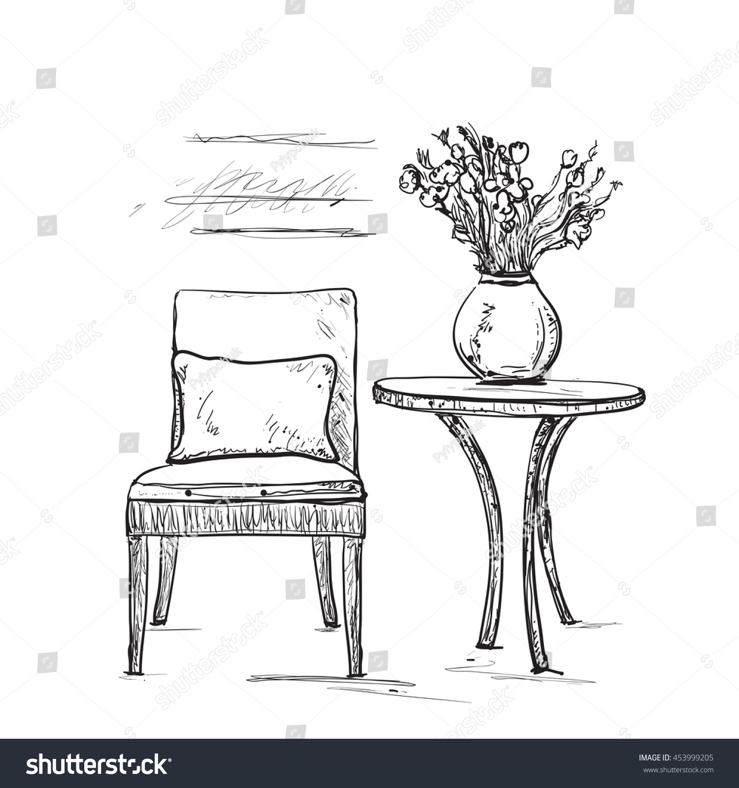 Room Interior Sketch Hand Drawn Chair Stock Vector