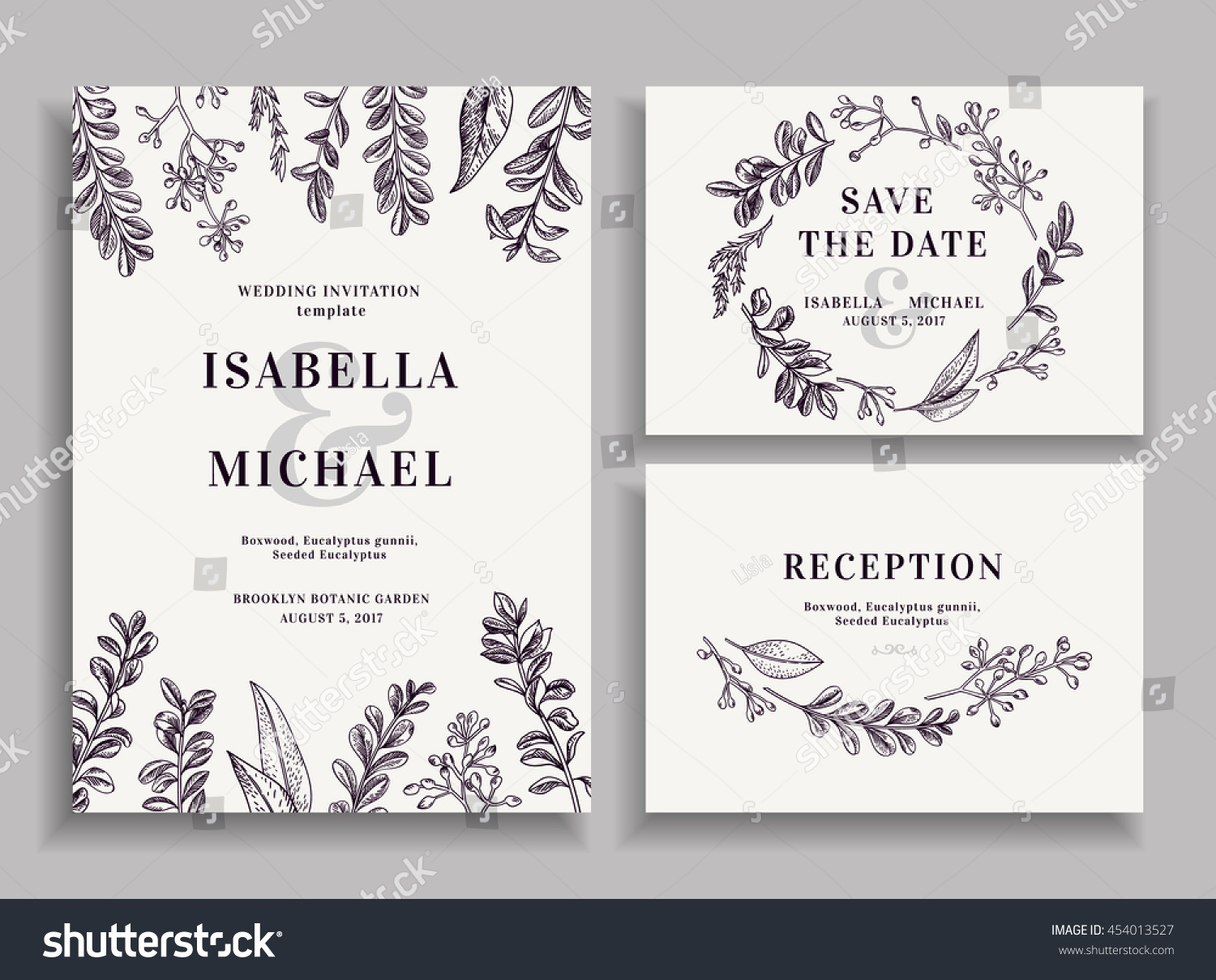 Matching Save The Date And Wedding Invitations: Vintage Wedding Set Greenery Wedding Invitation Stock
