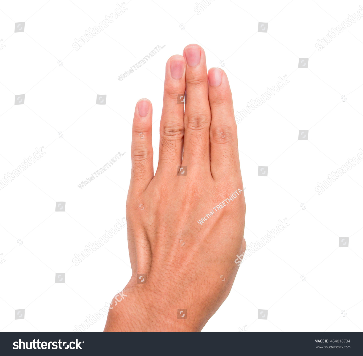 Meaning of fourth - A Hand Sign Of 4 Fingers Point Upward Meaning Four Fourth Etc With