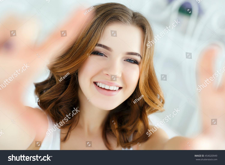 beautiful making selfie bed beautiful stock photo 454020949