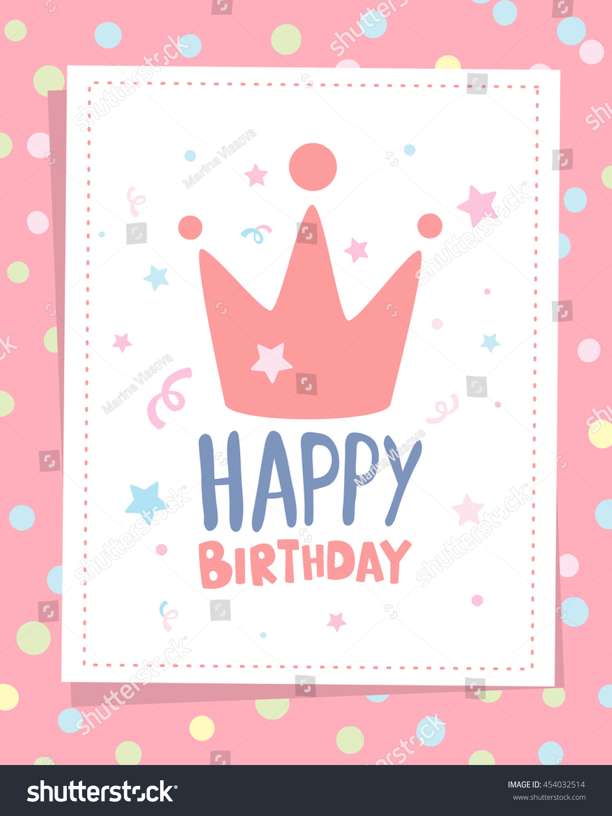 happy birthday crown template - vector colorful illustration happy birthday template stock