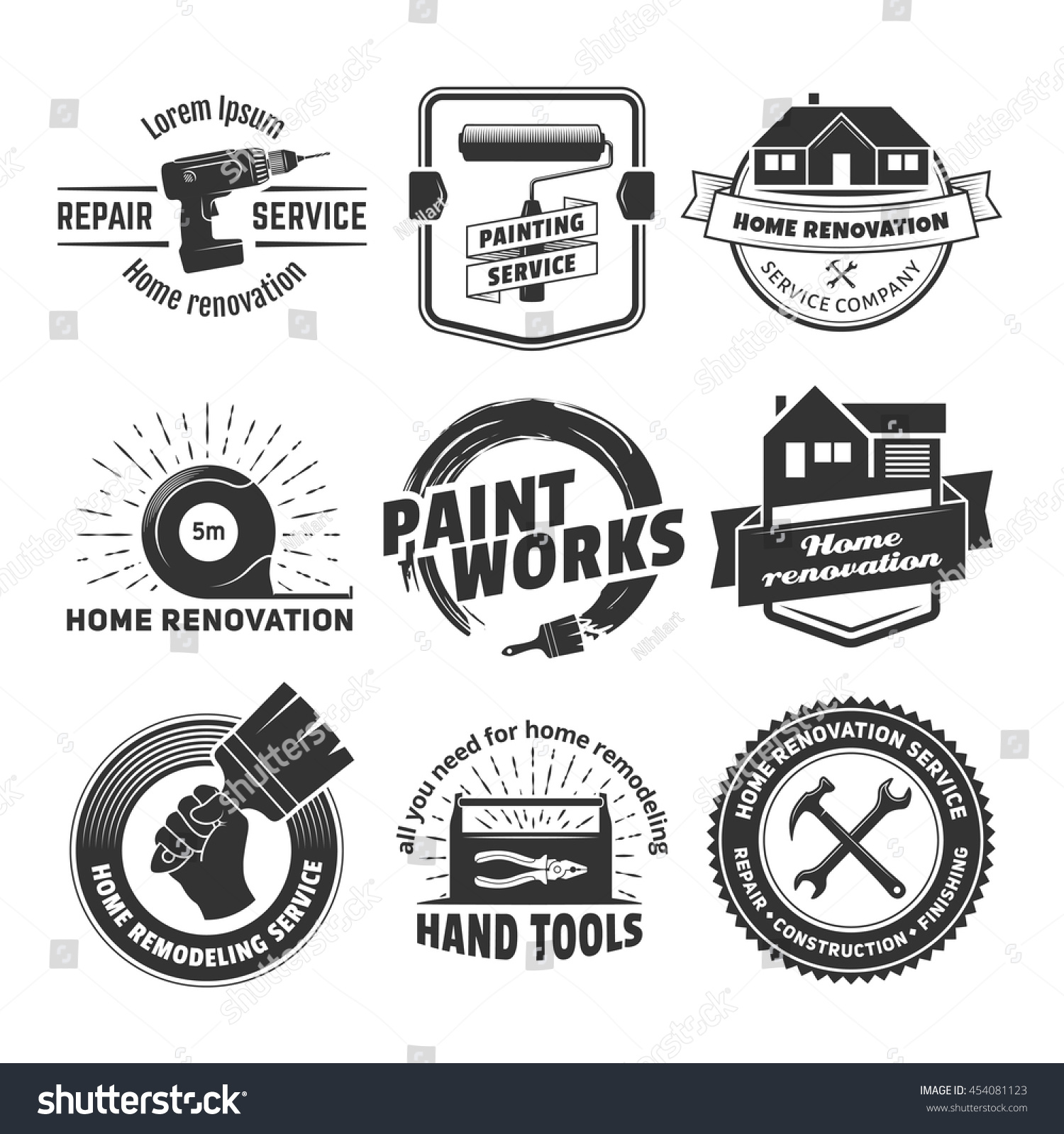 Home Remodeling Services Set Painting House Remodeling Logos Vector Badges Home Stock Vector 454081123 .