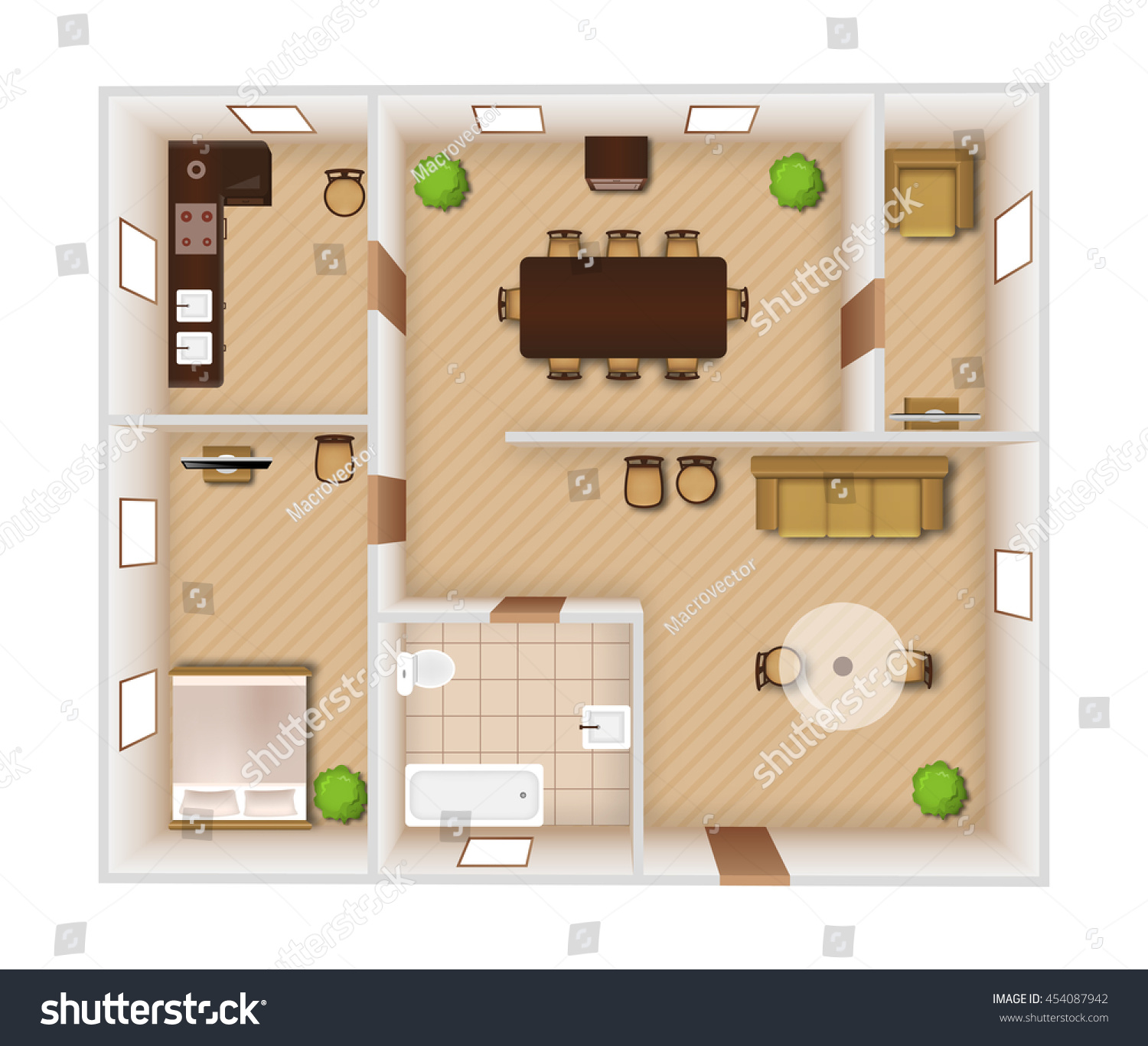 flat rooms interior furniture equipment top stock vector  flat rooms interior furniture and equipment top view vector illustration