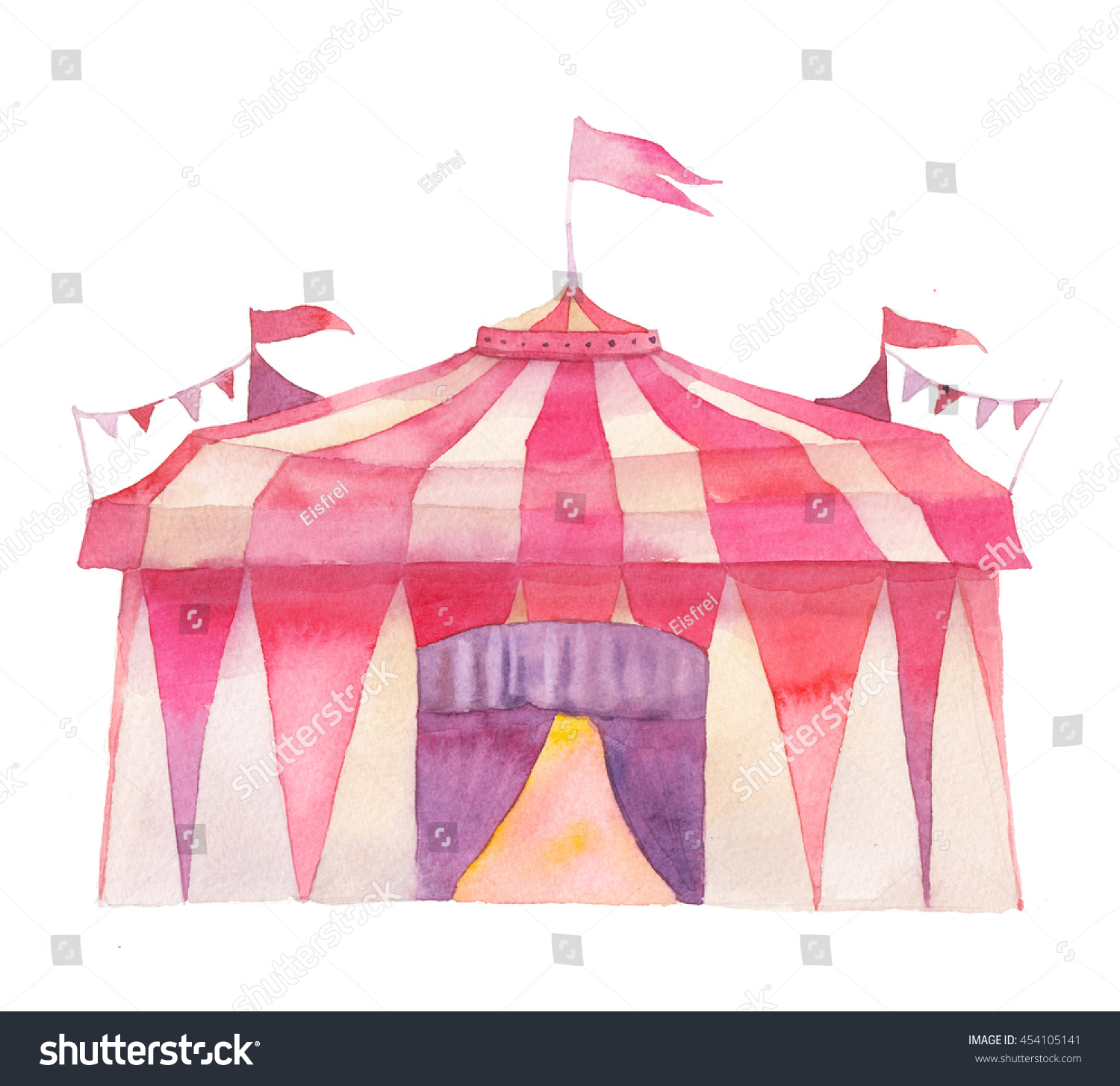 Watercolor circus tent with flags garlands isolated on white background. Hand drawn fair illustration  sc 1 st  Shutterstock & Watercolor Circus Tent Flags Garlands Isolated Stock Illustration ...