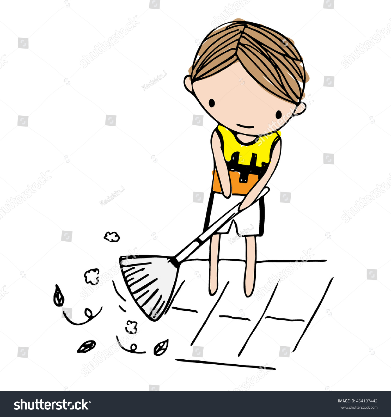vector cartoon boy sweeping leaves on stock vector royalty free 454137442 https www shutterstock com image vector vector cartoon boy sweeping leaves on 454137442