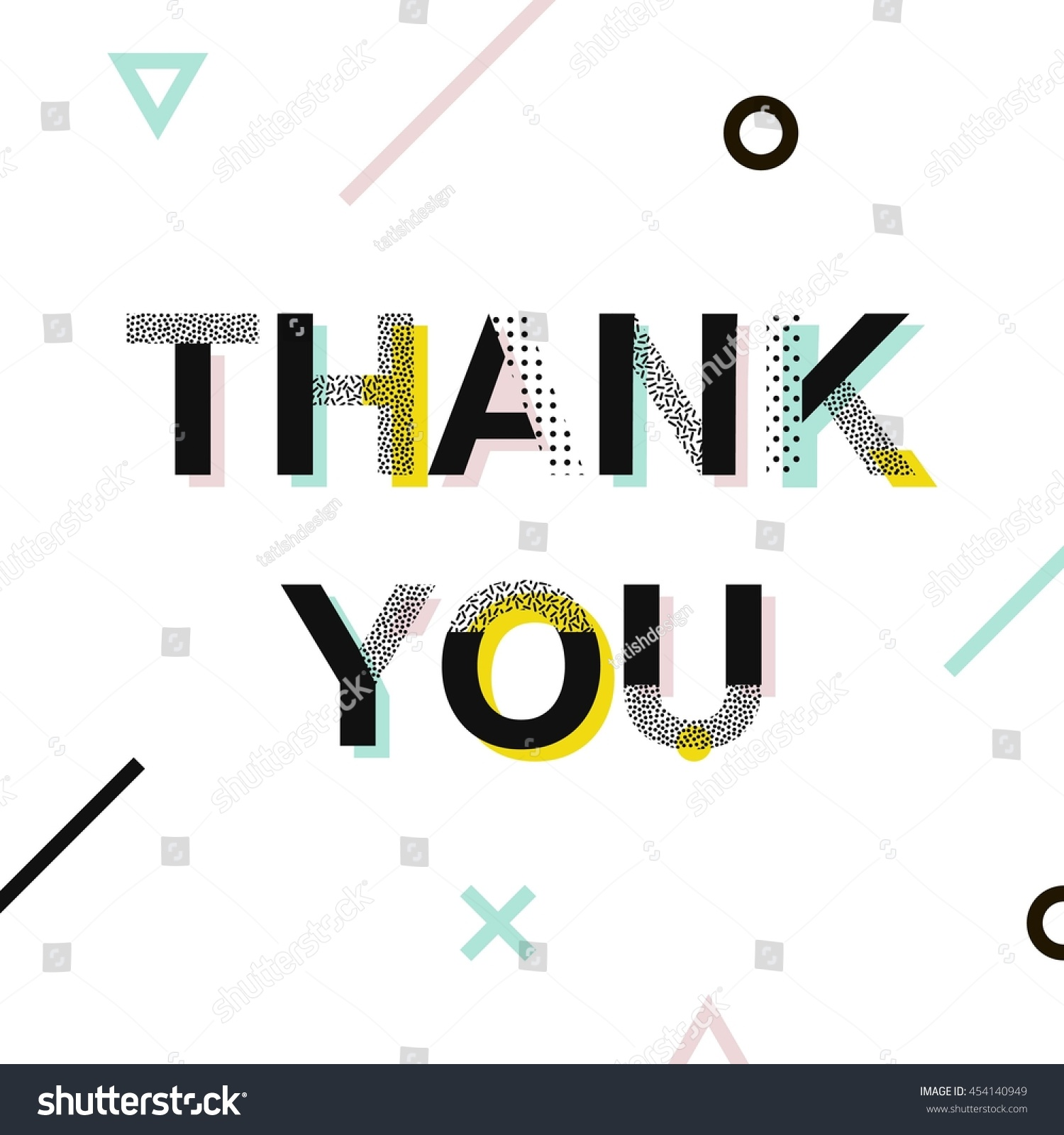 Thank You Card Typography Poster Memphis Stock Vector