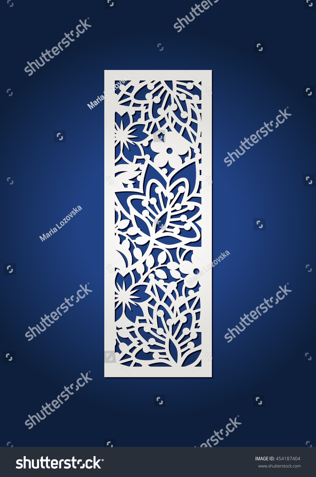 floral laser cut monogram initial letter stock vector 454187404