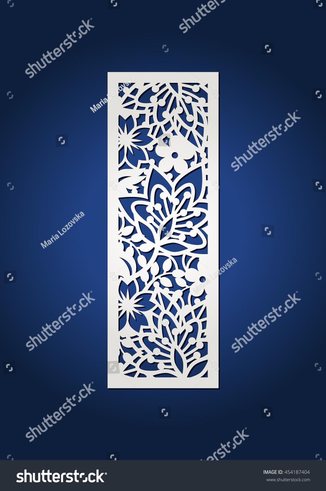 floral laser cut monogram initial letter stock vector 454187404