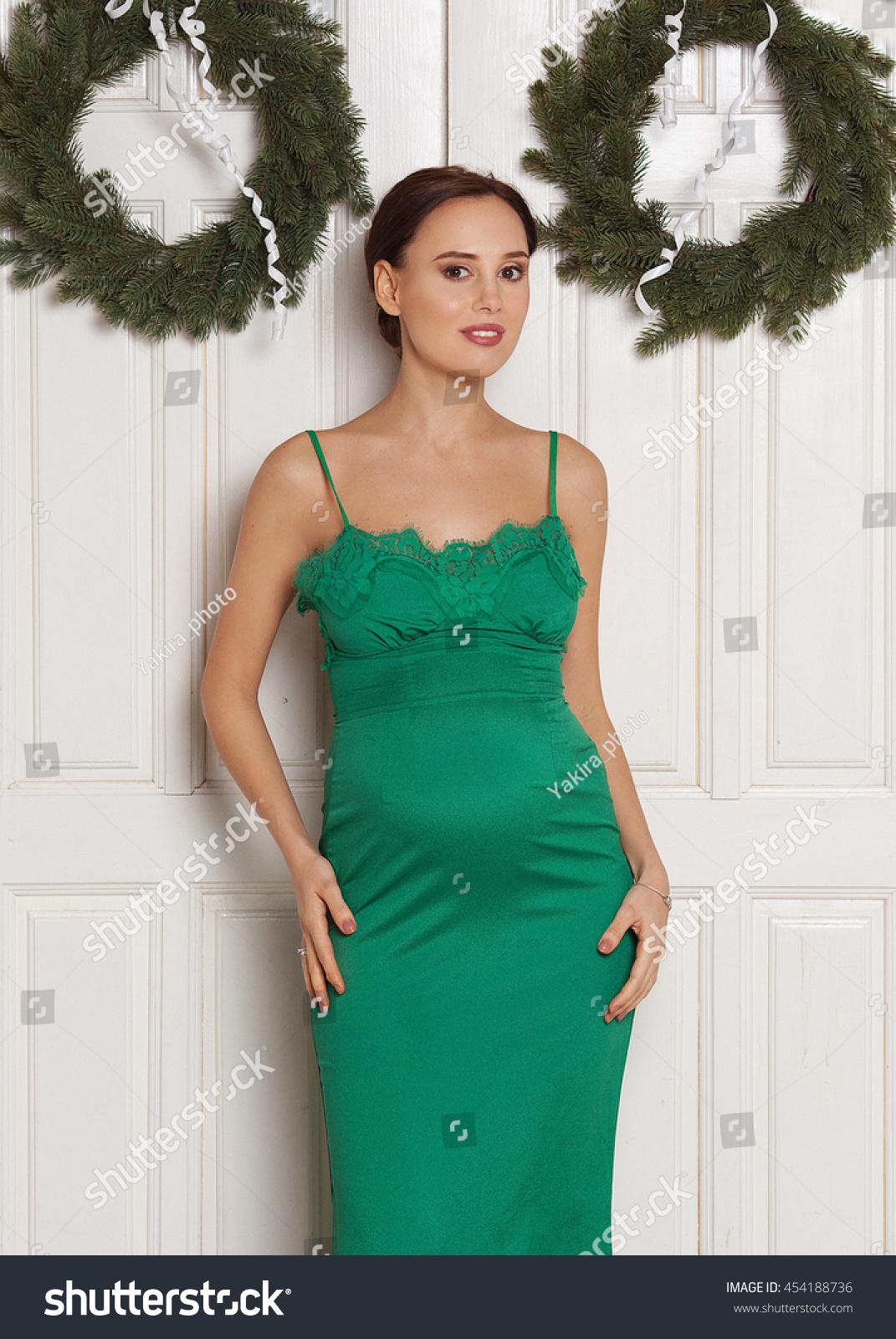 Portrait Beautiful Pregnant Woman Green Dress Stock Photo (Royalty ...