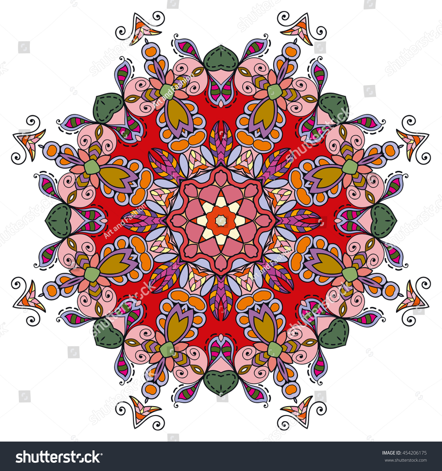 Mandala Flower Decoration Oriental Pattern Isolated Stock Vector ...