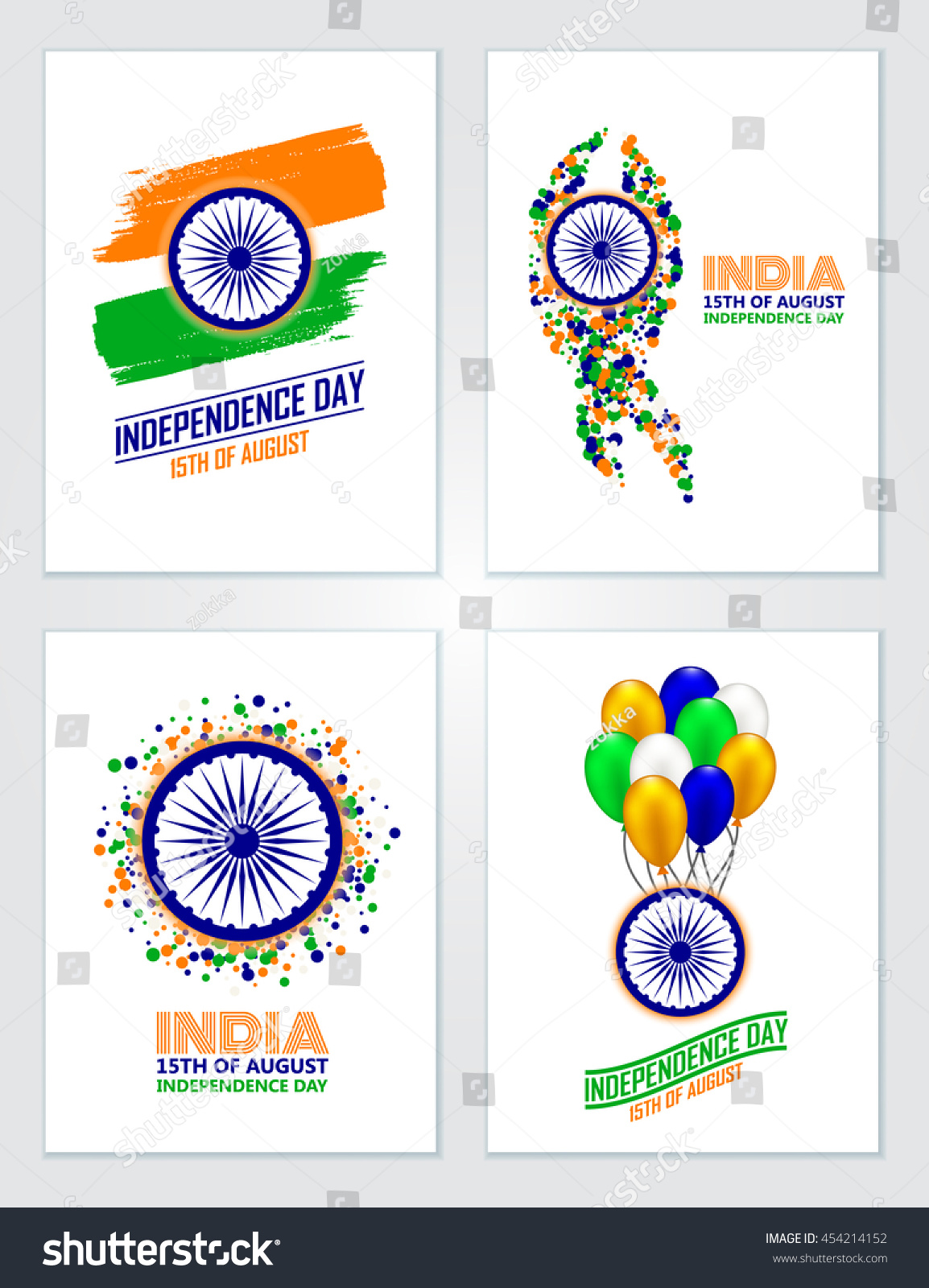 India Independence Day Set Greeting Cards Stock Vector 454214152