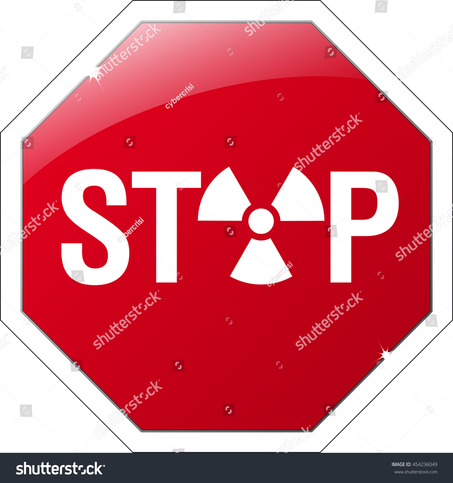 Stop sign radioactive symbol instead o stock vector 454236049 a stop sign with an radioactive symbol instead of an o biocorpaavc