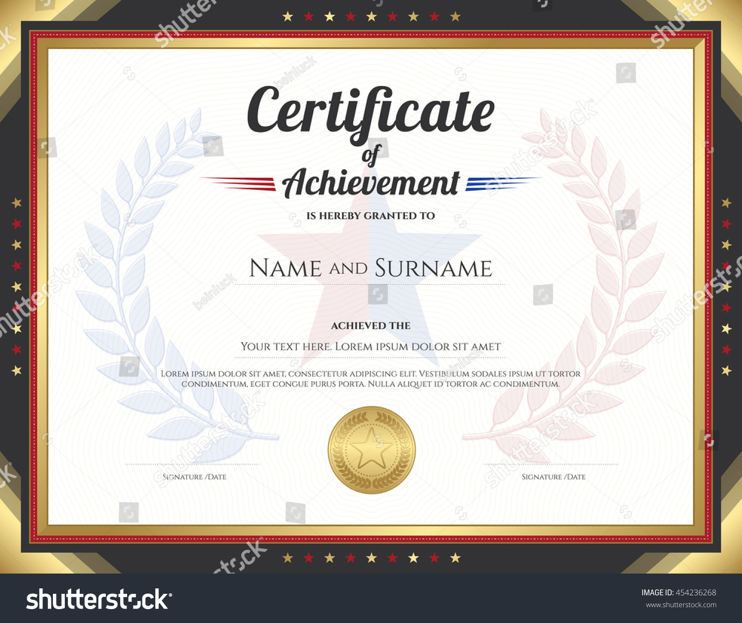 Certificate achievement template gold border theme stock vector certificate of achievement template with gold border theme and awarded wreath and star background alramifo Image collections