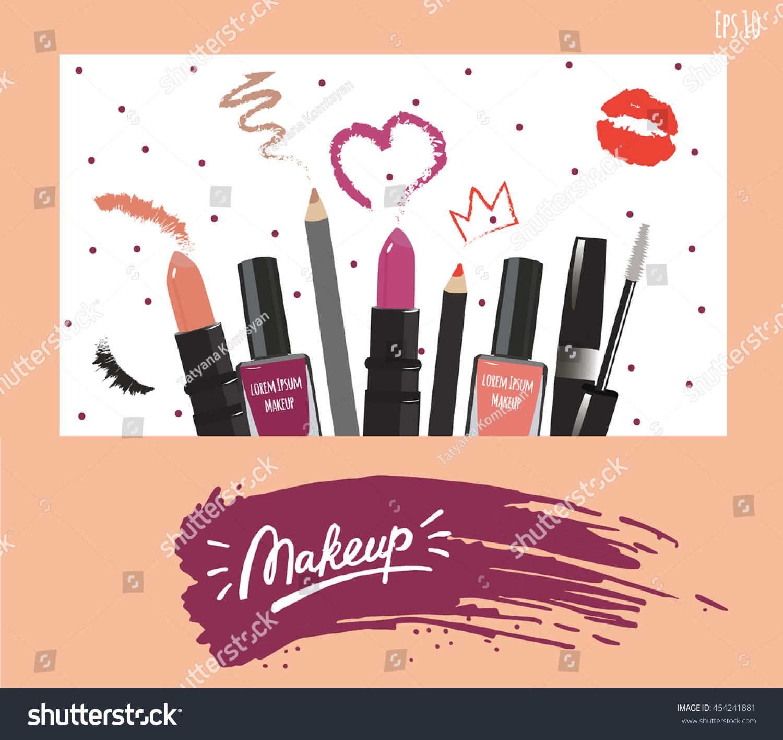 makeup artist business card vector template stock vector