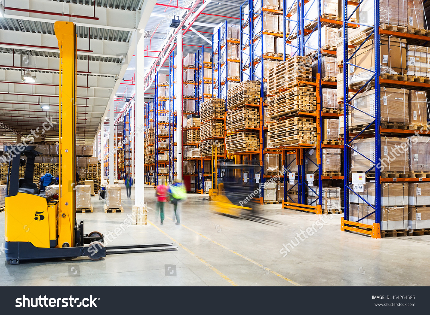 Interior of a modern warehouse in time with the staff #454264585
